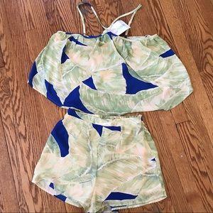 NEW tropical pattern 2 piece set (halter & shorts)
